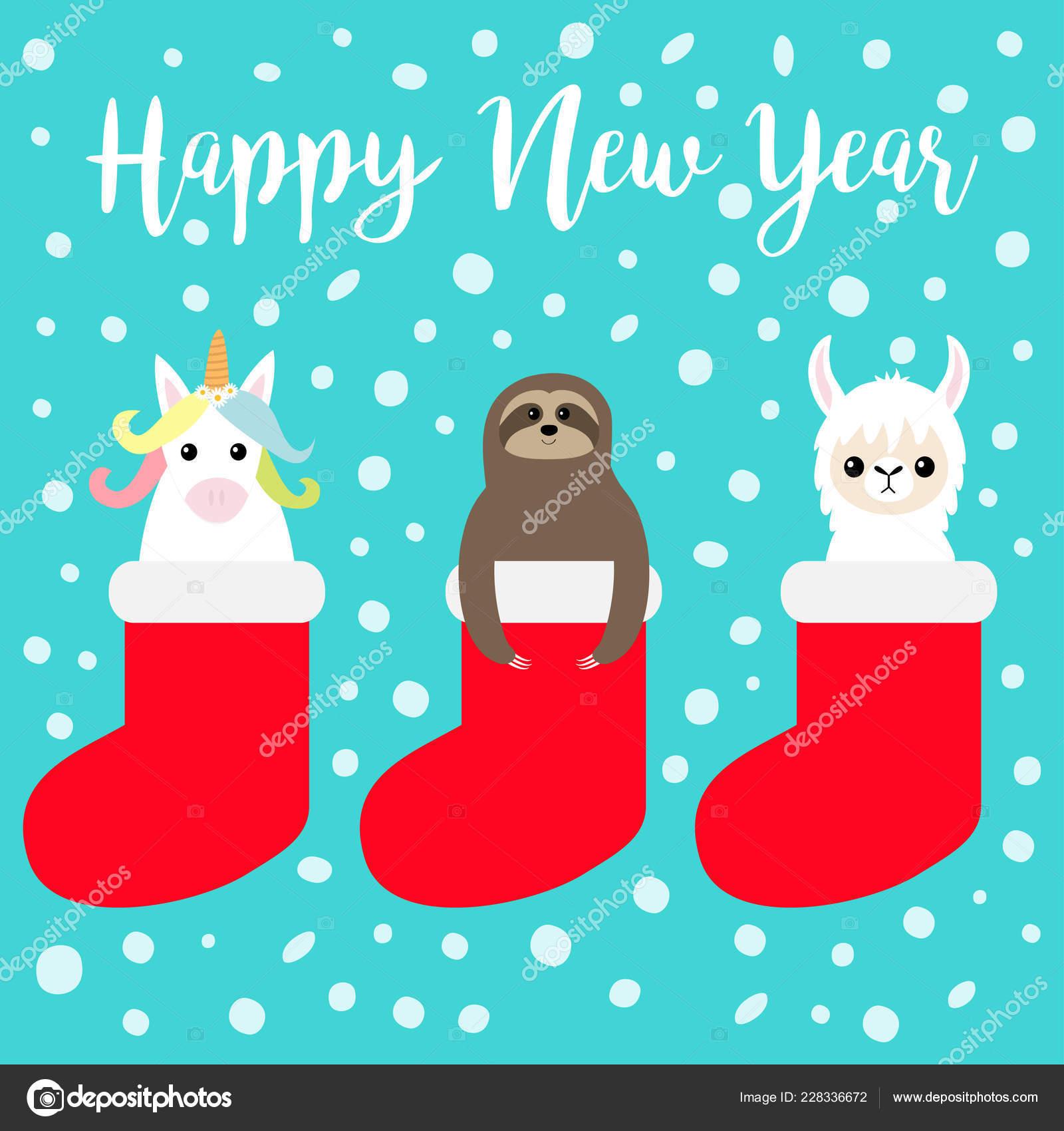 happy new year llama alpaca sloth unicorn in red sock snow flake merry christmas cute cartoon funny kawaii character t shirt greeting card