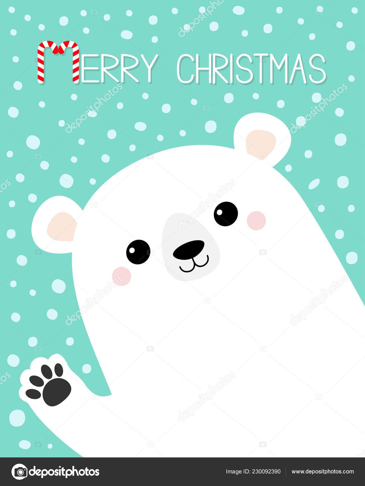 Joyeux Noël Ours Blancs Agitant Main Empreinte Patte