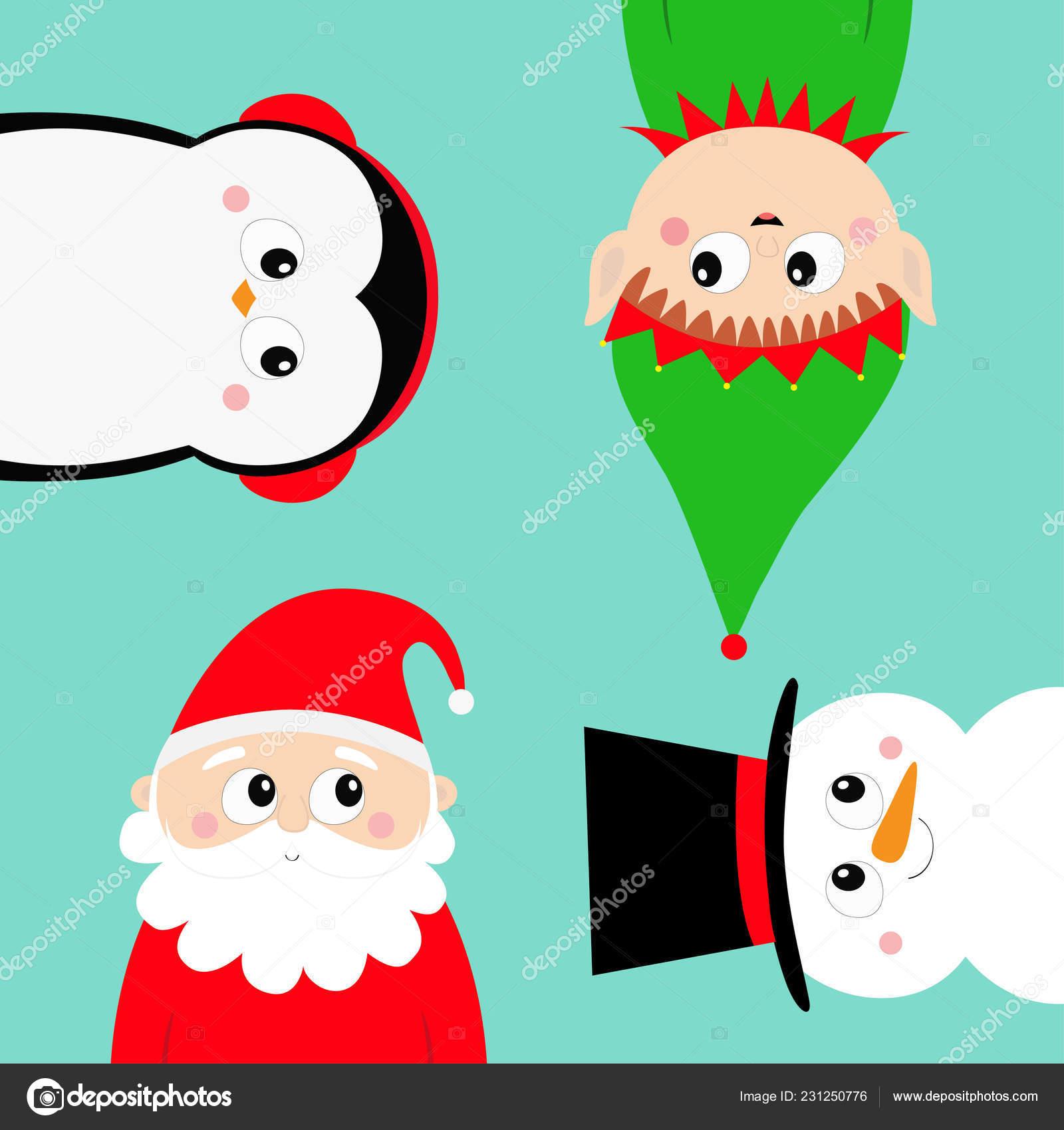 Joyeux Noël Nouvel Lutin Père Noël Bonhomme Neige Pingouin