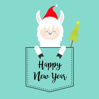 Happy New Year. Alpaca llama sitting in the pocket. Santa hat. Fir tree. Face and hands. Cute cartoon character. Hello winter. Merry Christmas. Blue background. Flat design. Vector illustration