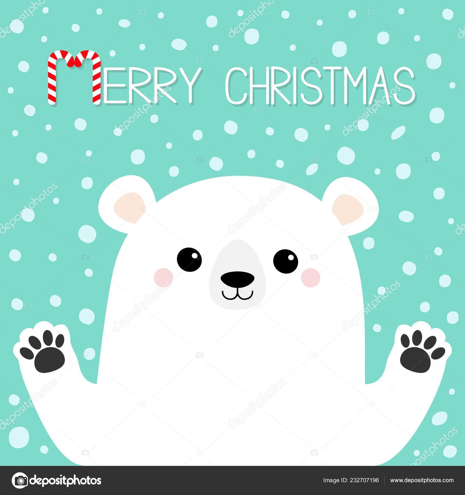 Joyeux Noël Ours Blancs Tenant Par Main Patte Personnage