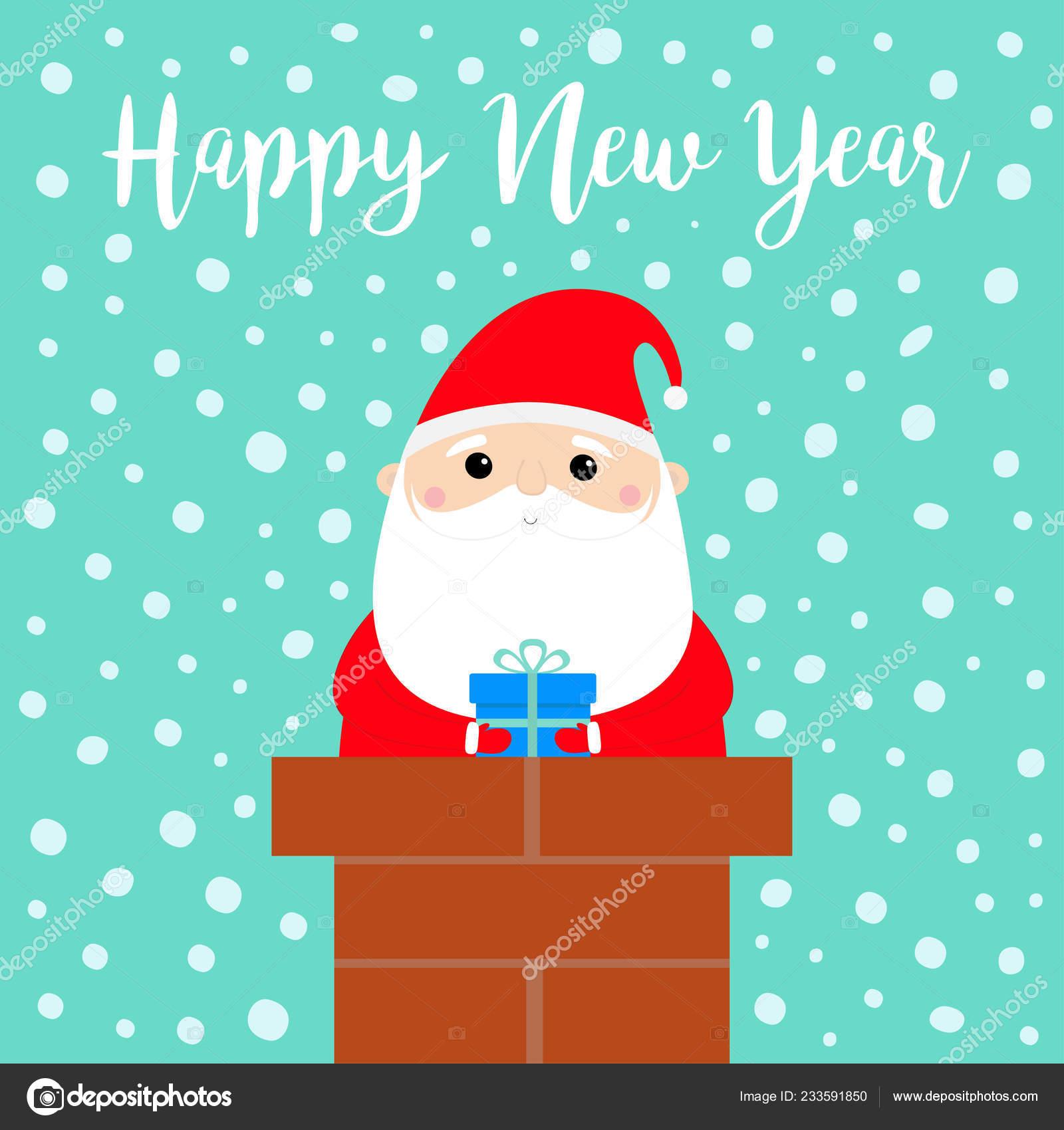 Bonne Année Père Noël Sur Cheminée Toit Chapeau Rouge Barbe