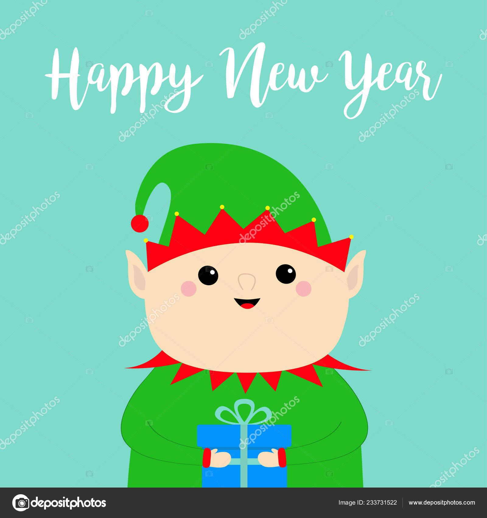 Bonne Année Visage Lutin Père Noël Tenant Boîte Cadeau