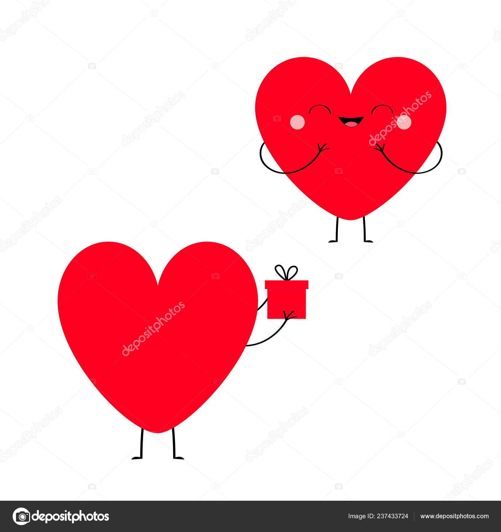 Couple Amoureux Coeur Rouge Heureuse Saint Valentin Symbole