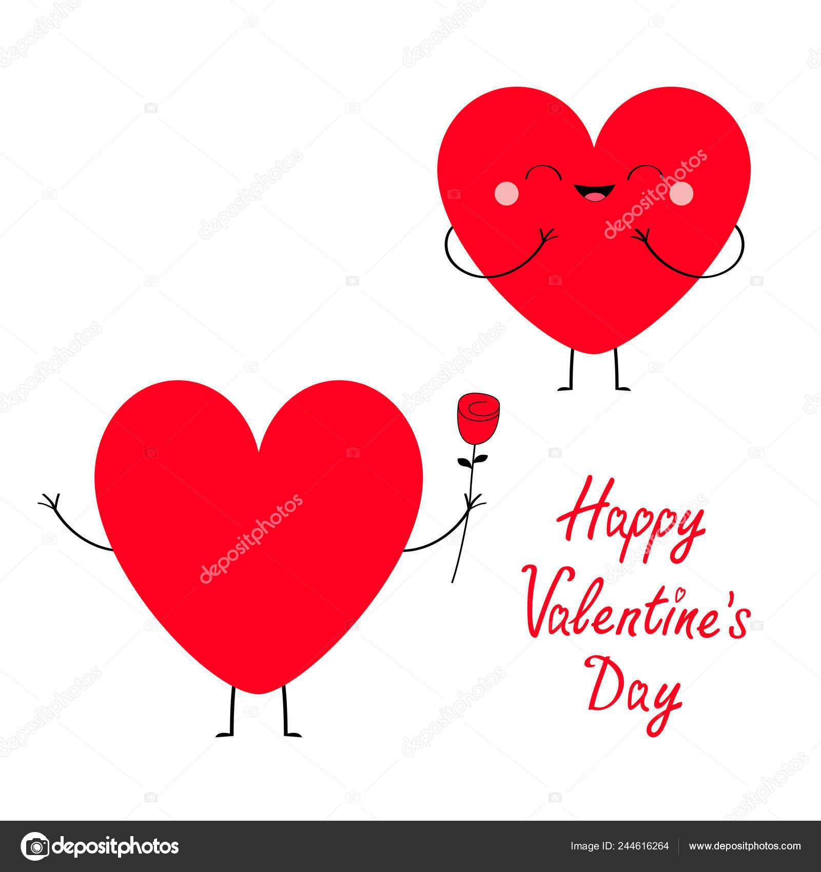 Heureuse Saint Valentin Symbole Couple Amoureux Coeur Rouge