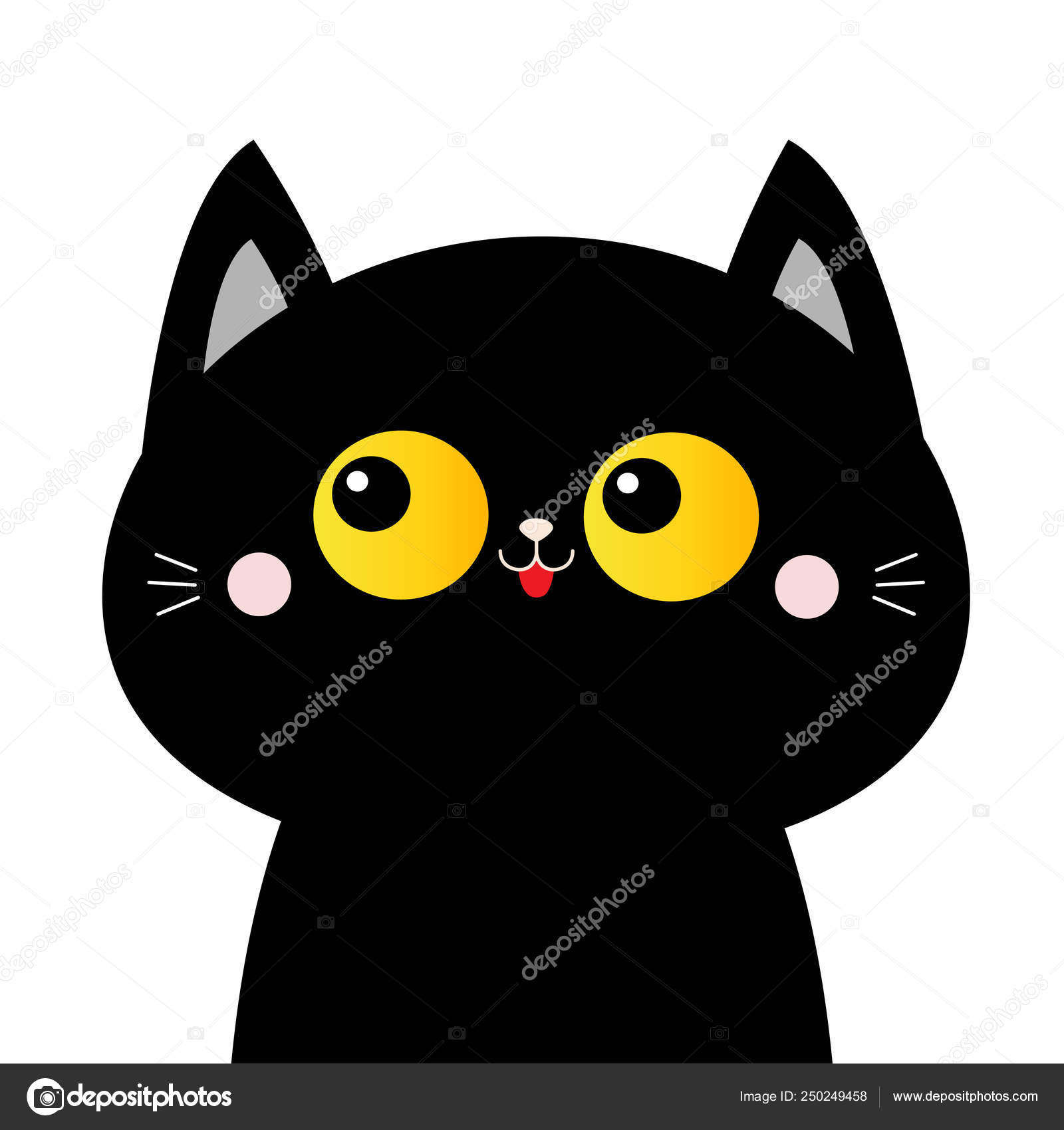 Black Cat Face Head Silhouette With Yellow Eyes Pink Blush Cheeks