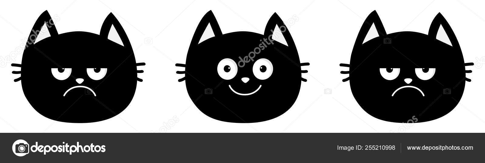 Cute Black Cat Set Line Emotion Collection Happy Smiling And