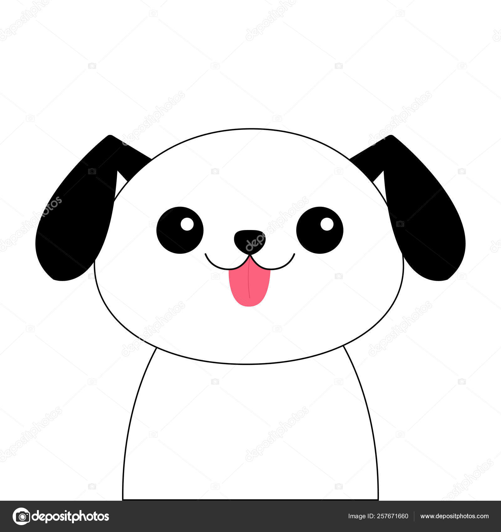Dog Contour Line Head Face Silhouette Doodle Linear Sketch Cute Cartoon Pooch Character Kawaii Animal Funny Baby Puppy Love Greeting Card Flat Design White Background Isolated Stock Vector C Worldofvector 257671660