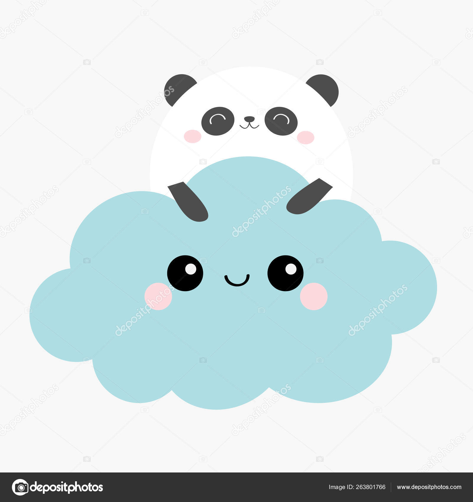Panda Bear Face Holding Blue Cloud In The Sky Cute Cartoon