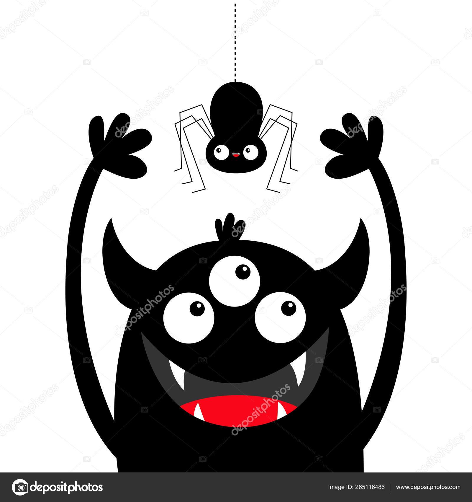 Hanging Spider Monster Head Black Silhouette Three Eyes Teeth