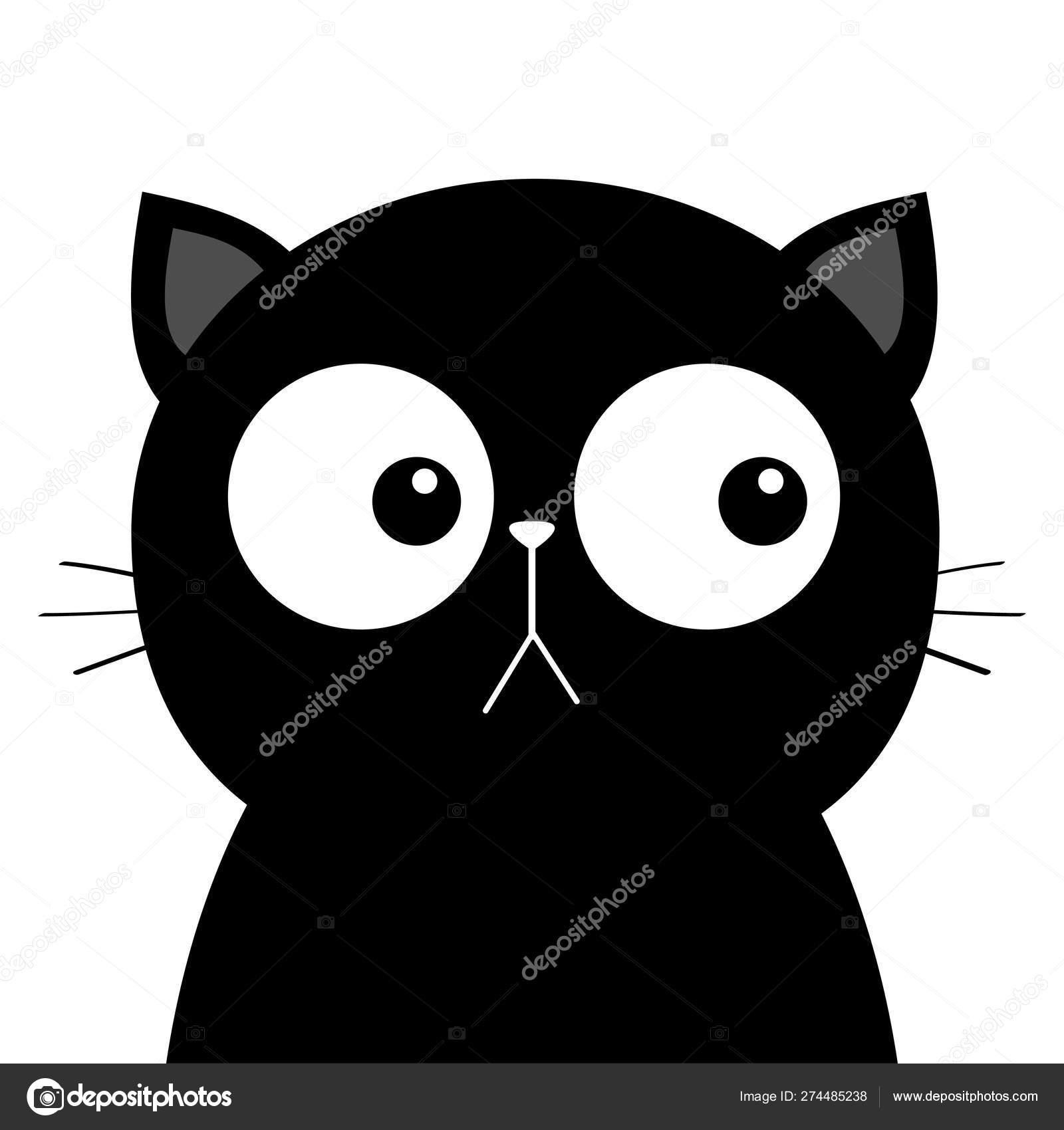 Cara De Cabeza De Gato Negro Triste Con Ojos Grandes Lindo