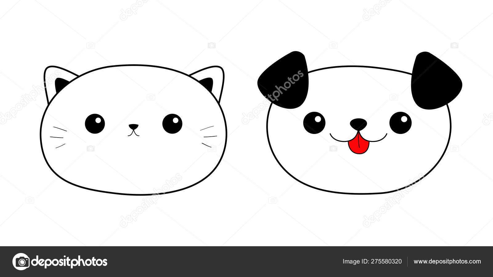 Cat Dog Head Face Linear Silhouette Icon Set Contour Line