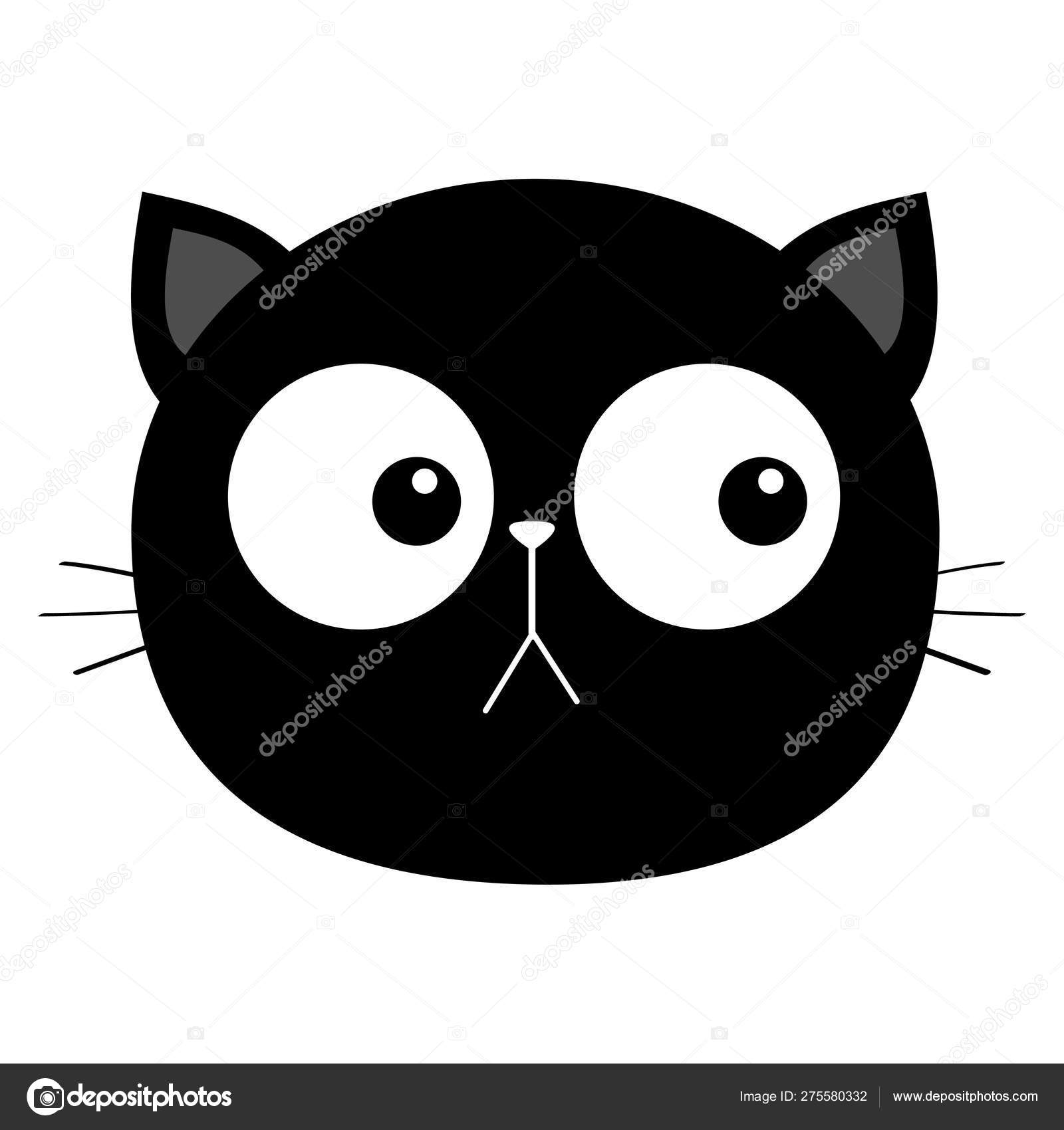Black Cat Head Face Round Icon With Big Eyes Cute Cartoon Kawaii Funny Character Pet Baby Print Collection Flat Design White Background Isolated Stock Vector C Worldofvector 275580332