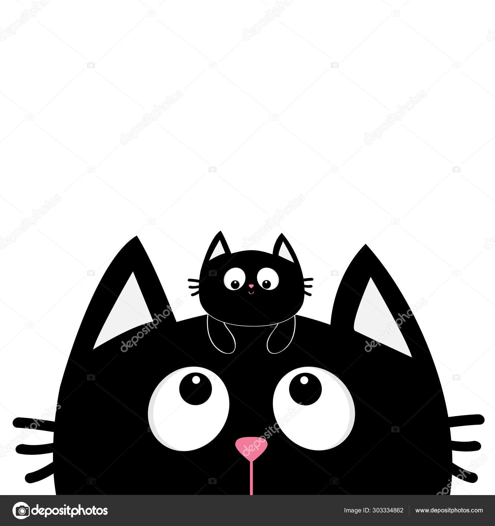 Black Cat Face Silhouette Looking Up Baby Kitten Hanging On The