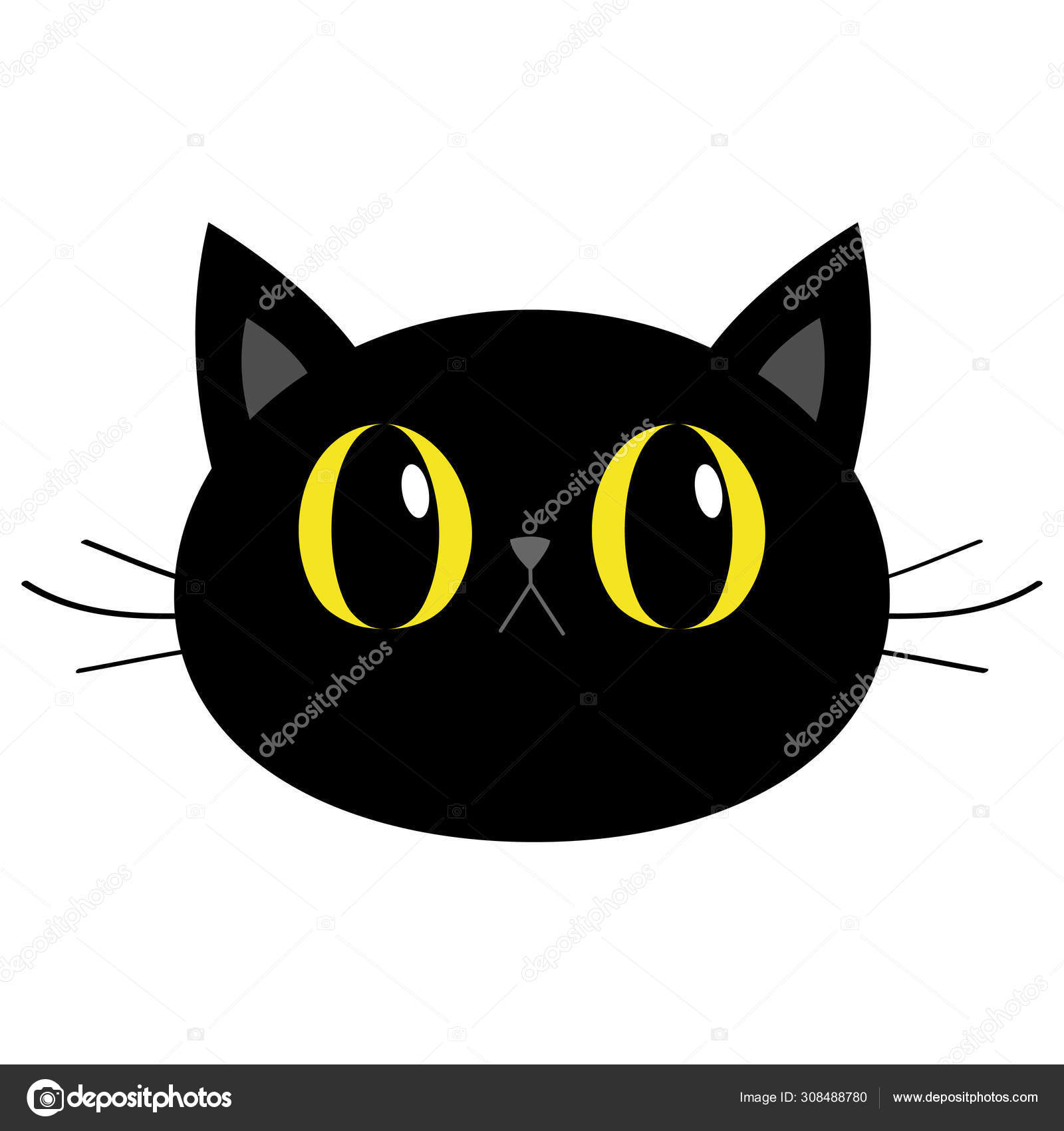 Black Cat Round Head Face Icon Cute Funny Cartoon Character Big