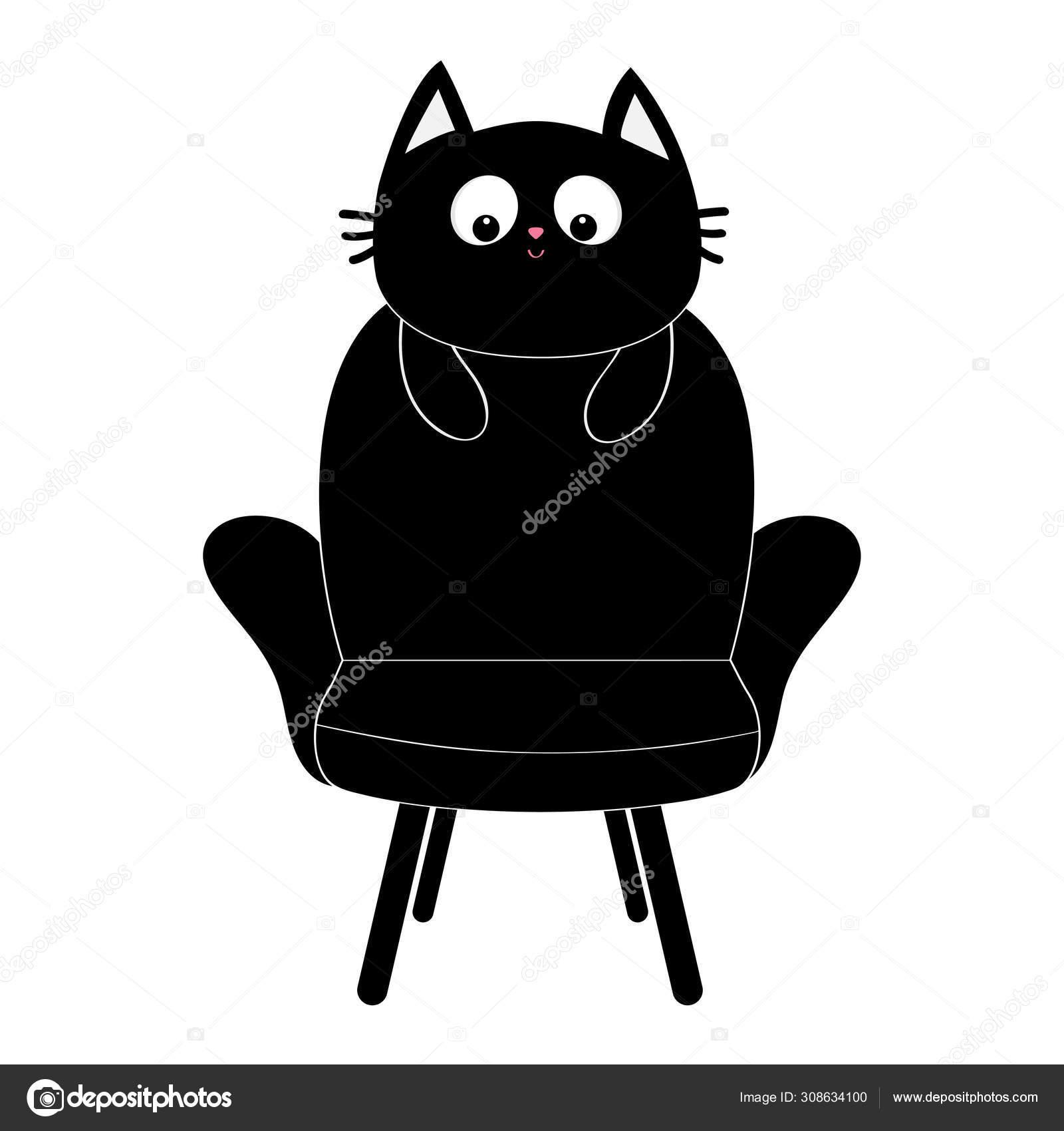 Black Cat Face Silhouette Holding Armchair Baby Kitty Kitten
