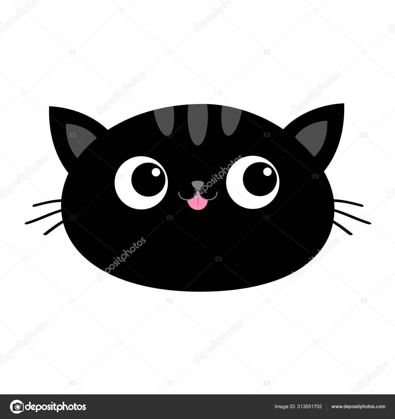 Black Cat Head Face Oval Icon With Big Eyes Pink Tongue Cute