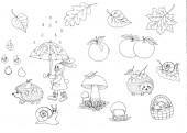 Nebezproblémová sezóna. lesních živočichů. podzimní procházka deštěm. Zajíc jde pod deštník, ježci sbírají houby, jablka. Dešťové kapky se vesele radily v dešti. Nehte