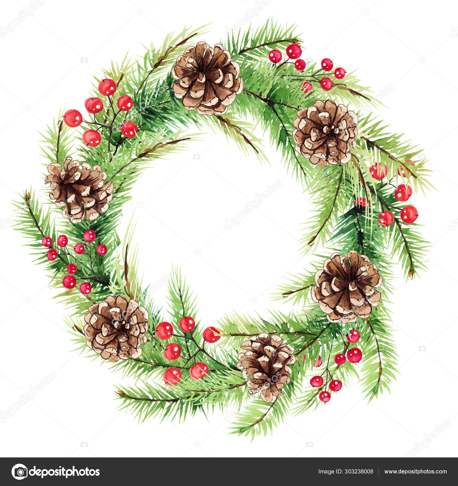 Watercolor Xmas Wreath New Year Decoration Christmas ...