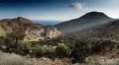 Panoramatický výhled na krajinu a hory, Kréta, Řecko