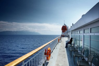 Deck of ship sailing on sea; Greece