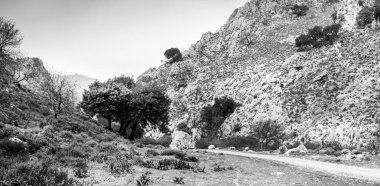 Panoramic view of landscape and hills at Crete, Greece