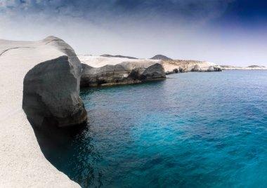 White rock cliff and sea at Milos Island, Greece