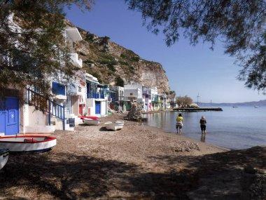 Scenic view of traditional fisherman village on Milos island Greece