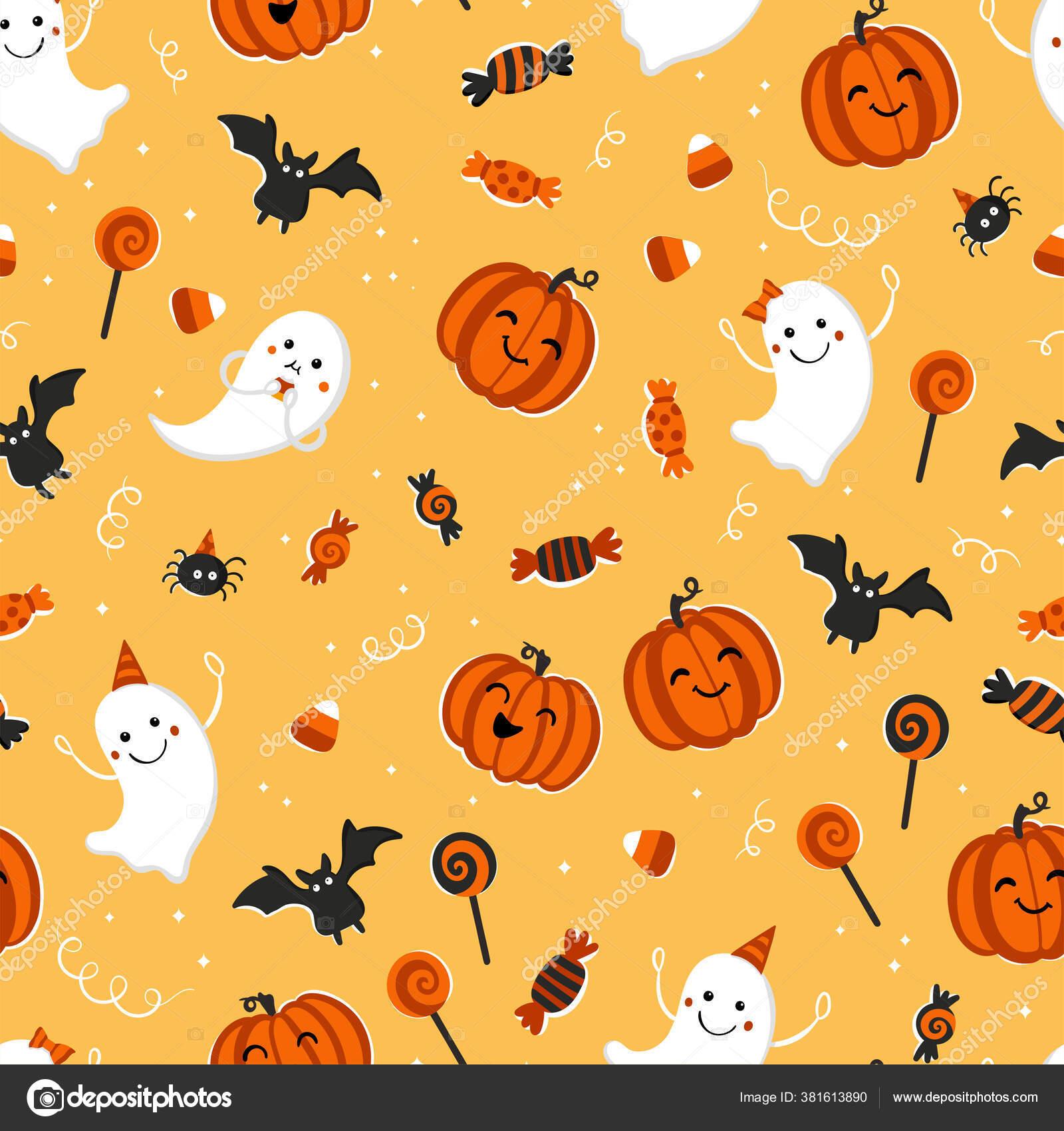 depositphotos 381613890 stock illustration fun hand drawn halloween seamless