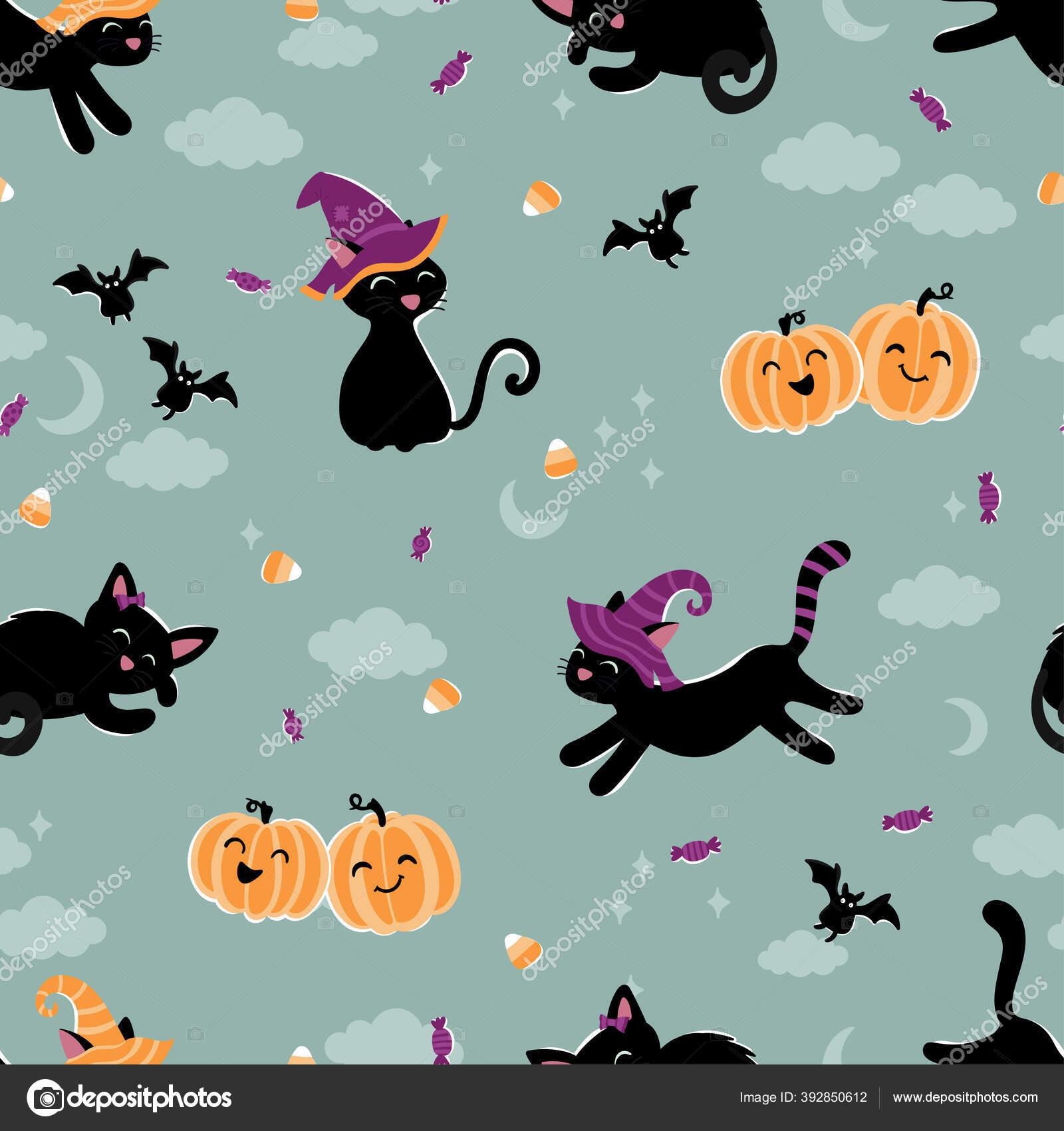 depositphotos 392850612 stock illustration cute hand drawn halloween seamless