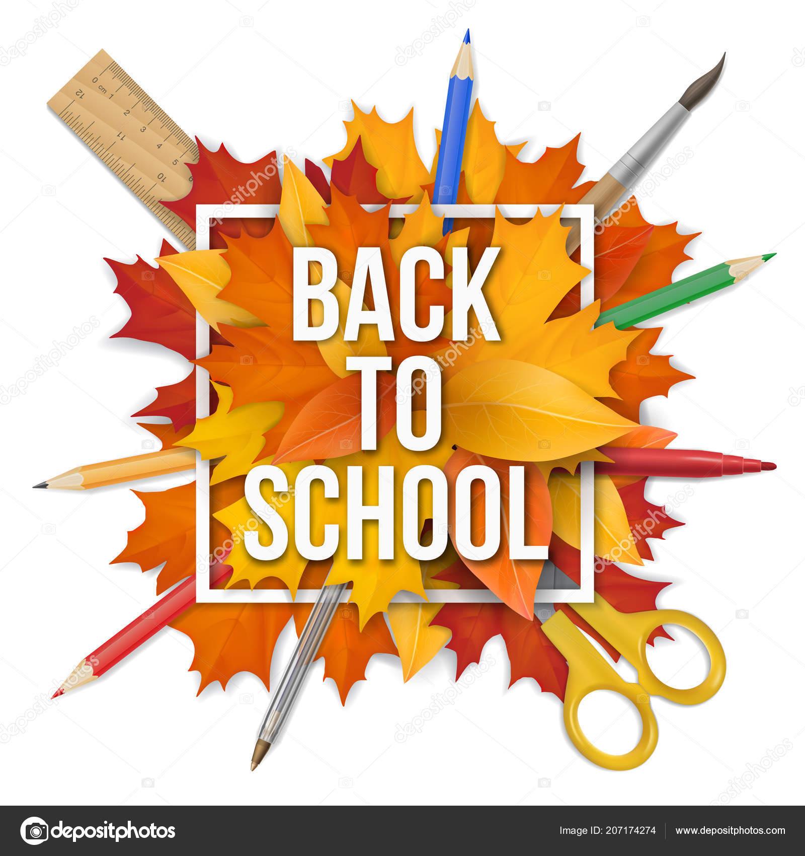 Back To School Frame Leaves Stock Vector Belikovand 207174274