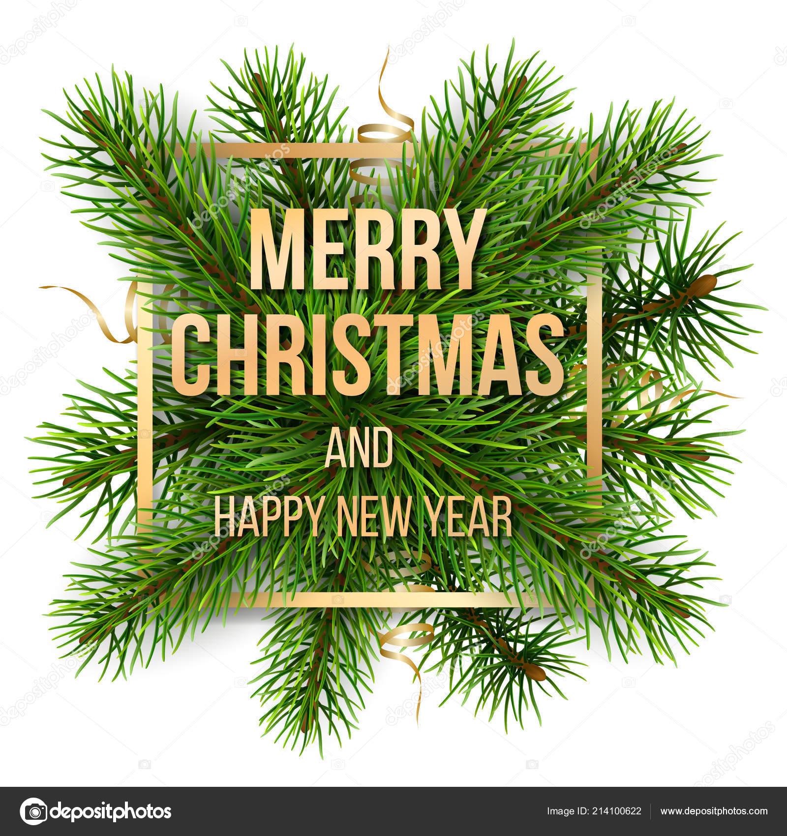 Frohe Weihnachten Rahmen.Frohe Weihnachten Goldenen Rahmen Und Kiefer Niederlassungen