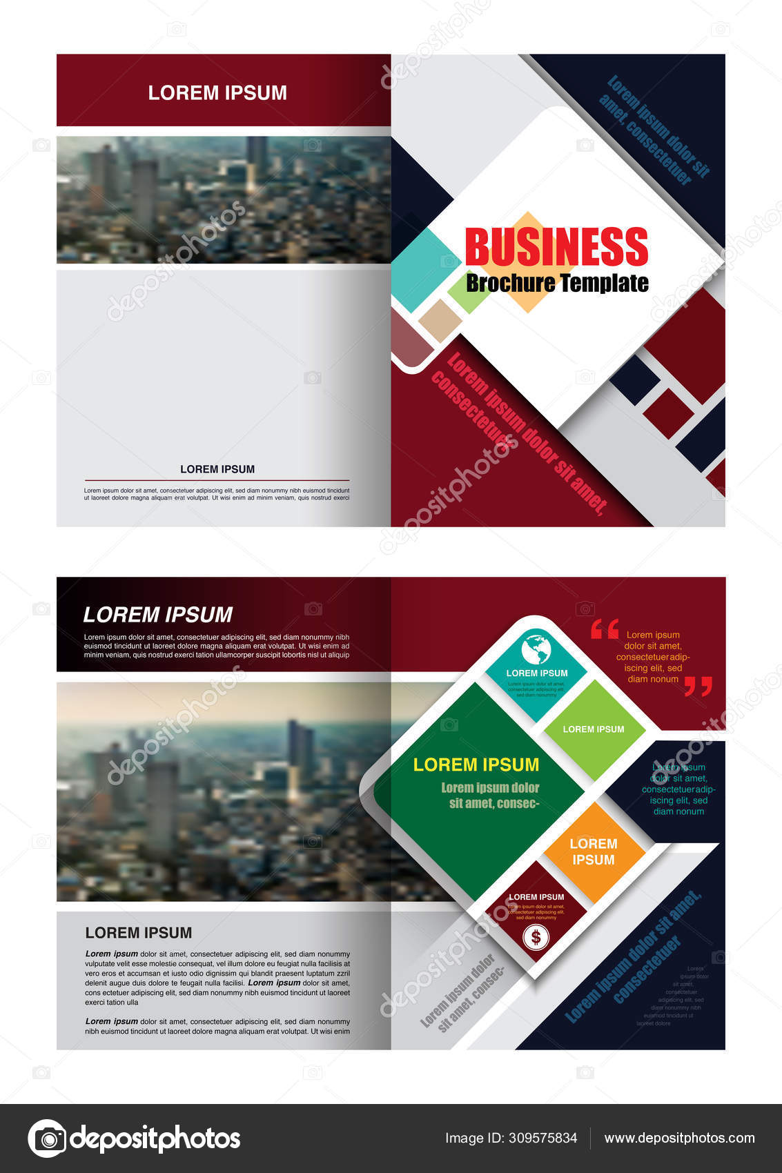 Business Brochure Template Graphic Scale Colorful Infographic Design Element Red Stock Vector C Fotoslaz 309575834