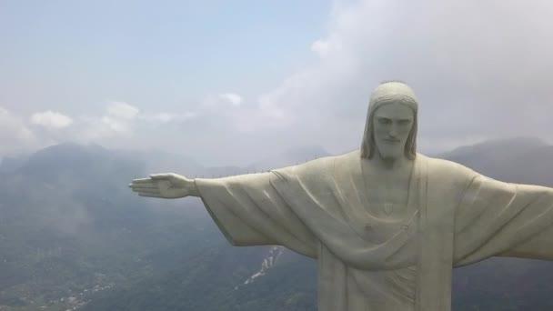 Jesus socha nad Rio De Janeiro Brazílie, letecký pohled. Kristus Vykupitel