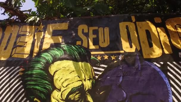 Batman Kissing Joker Graffiti, LMBT Inspired Street Artwork, Sao Paulo, Brazília
