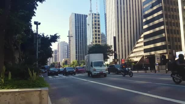 Sao Paulo, Brazílie, Traffic on Paulista Avenue During Covid-19 Virus Outbreak