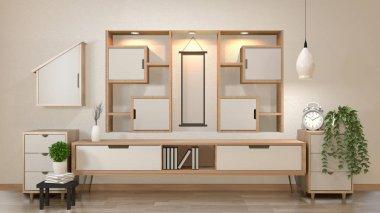 Cabinet and decoration in modern zen empty room,minimal designs shelf wall, 3d rendering stock vector