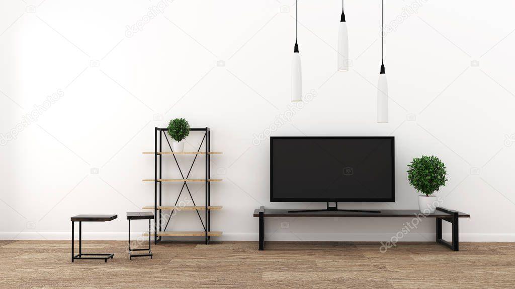 TV in modern empty room, interior - minimal. 3d rendering stock vector