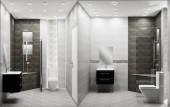 Ve stylu toaletního podkroví se nacházejí dvě tónové dekorace. prostorové vykreslování