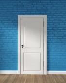 moderne Loft weiße Tür und blaue Ziegelwand auf Holzboden. 3d r
