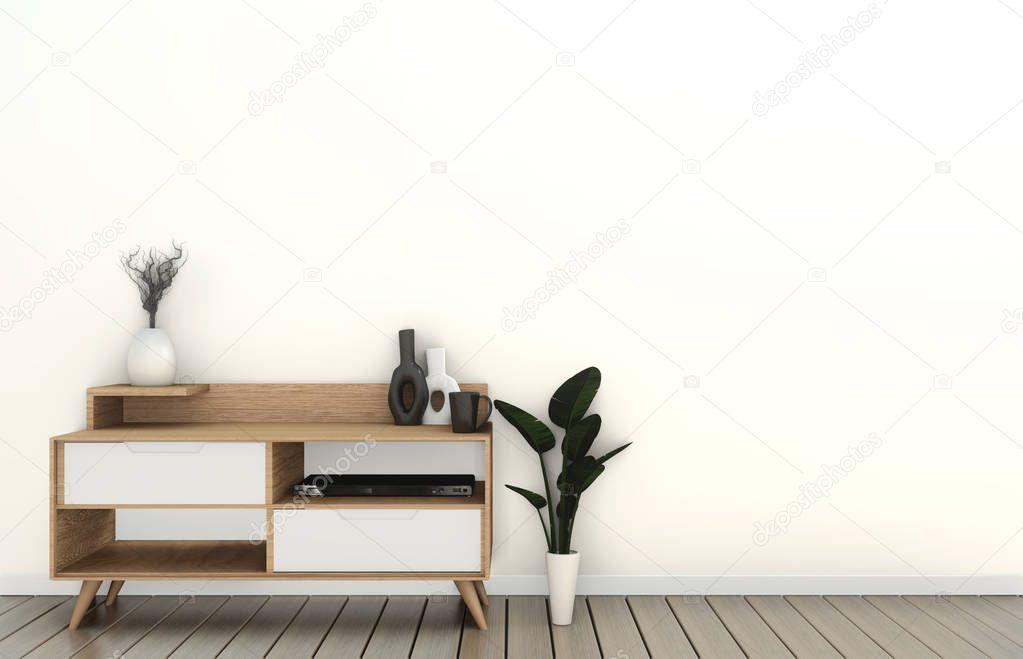 Mock up Tv cabinet in modern empty room Japanese - zen style,minimal designs. 3D rendering stock vector
