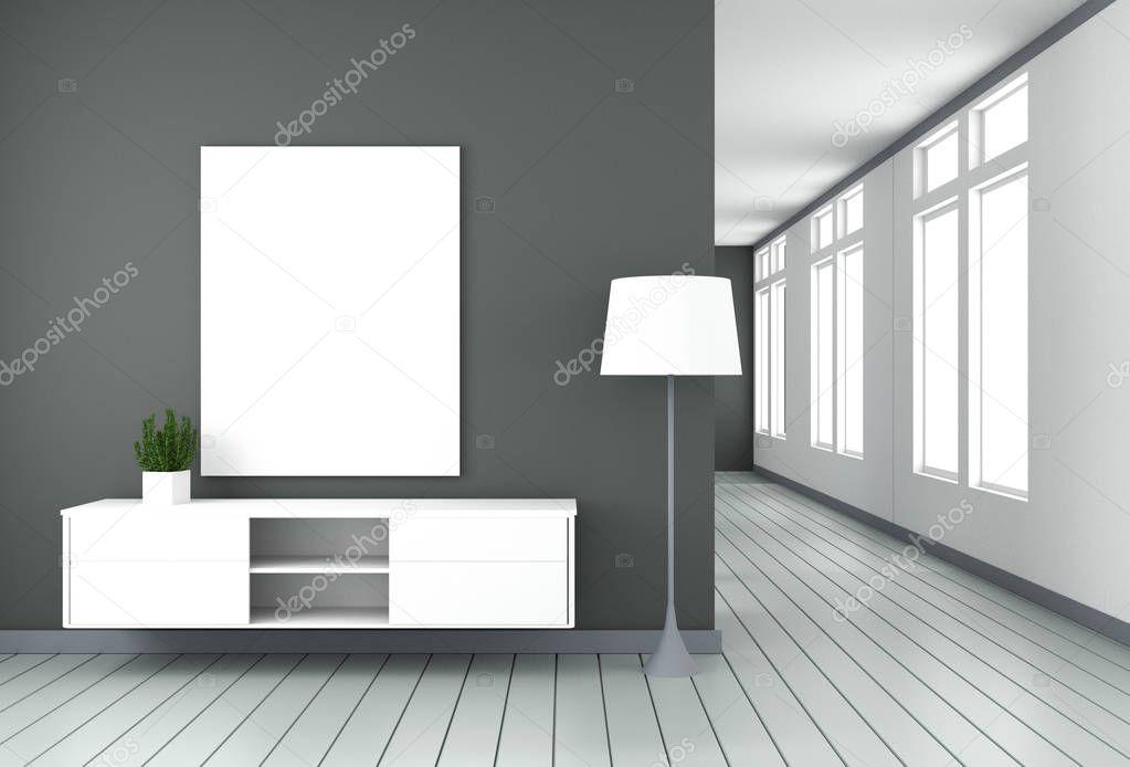 Tv cabinet in black modern room,minimal designs, zen style. 3d rendering stock vector