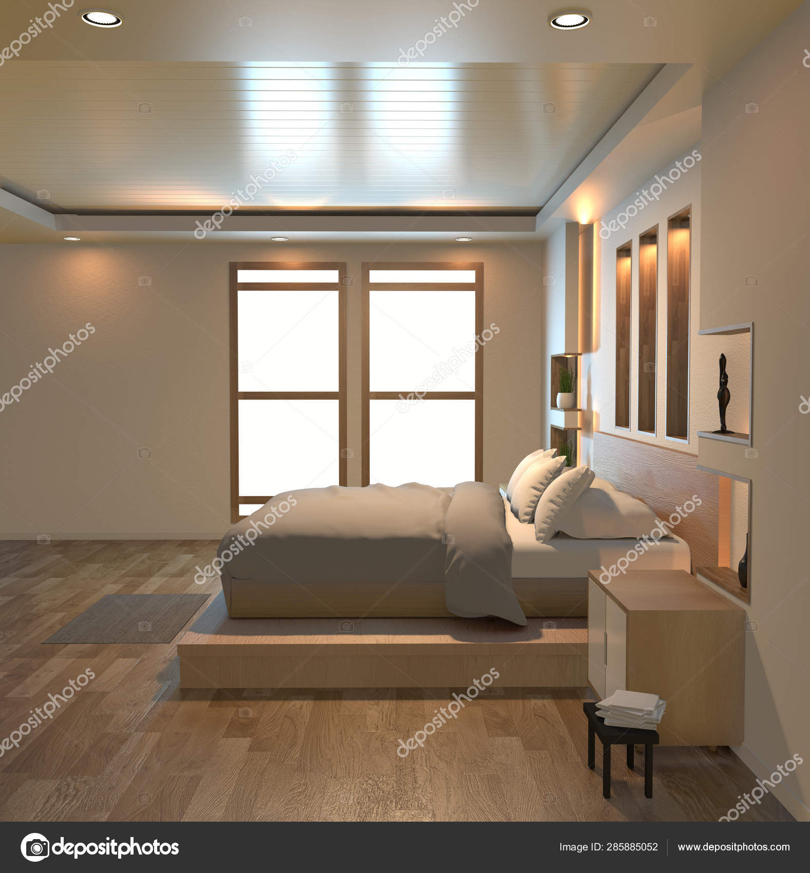 Modern Zen Peaceful Bedroom Japan Style Bedroom With Shelf Wall Stock Photo C Minny0012011 Gmail Com 285885052