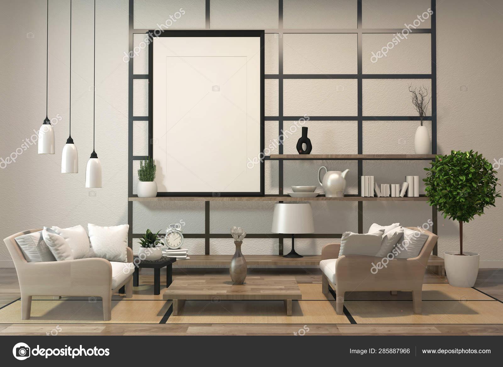 Minimalist Modern Zen Living Room With Wood Floor And Decor Japa Stock Photo C Minny0012011 Gmail Com 285887966