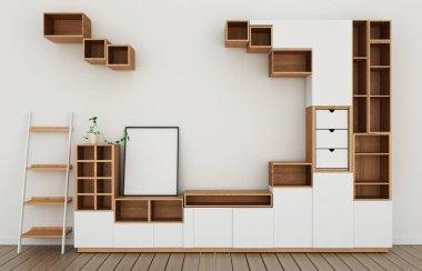 Cabinet design mockup in modern empty room,white floor wooden on white wall room japanese style.3d rendering stock vector
