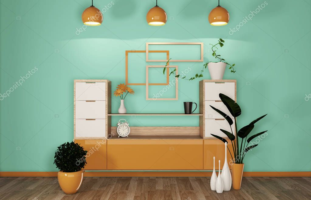 Cabinet in modern mint and orange room Japanese - zen style,minimal designs. 3D rendering stock vector