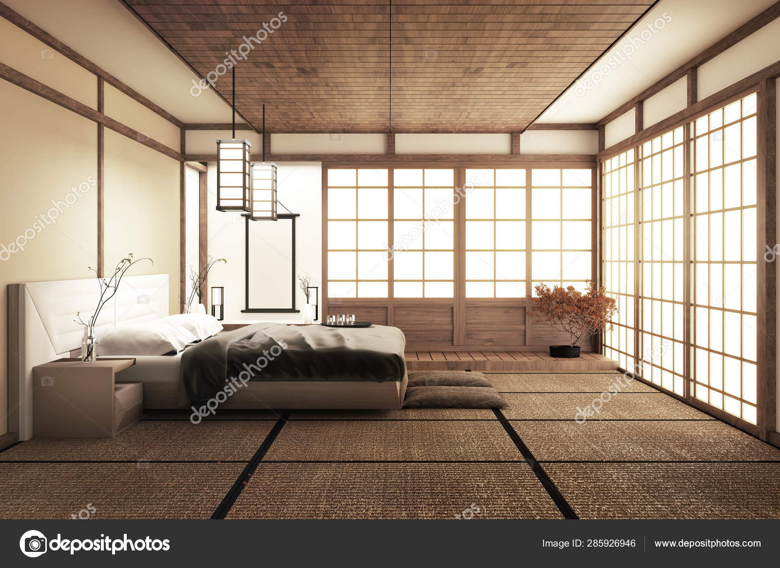 Interior Luxury Modern Japanese Style Bedroom Mock Up Designing Stock Photo C Minny0012011 Gmail Com 285926946