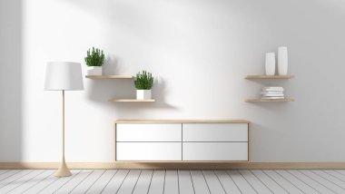 Tv cabinet in modern empty room Japanese - zen style,minimal designs. 3D rendering stock vector