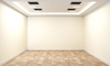 Empty room interior with wooden floor on white wall background. 3D rendering stock vector