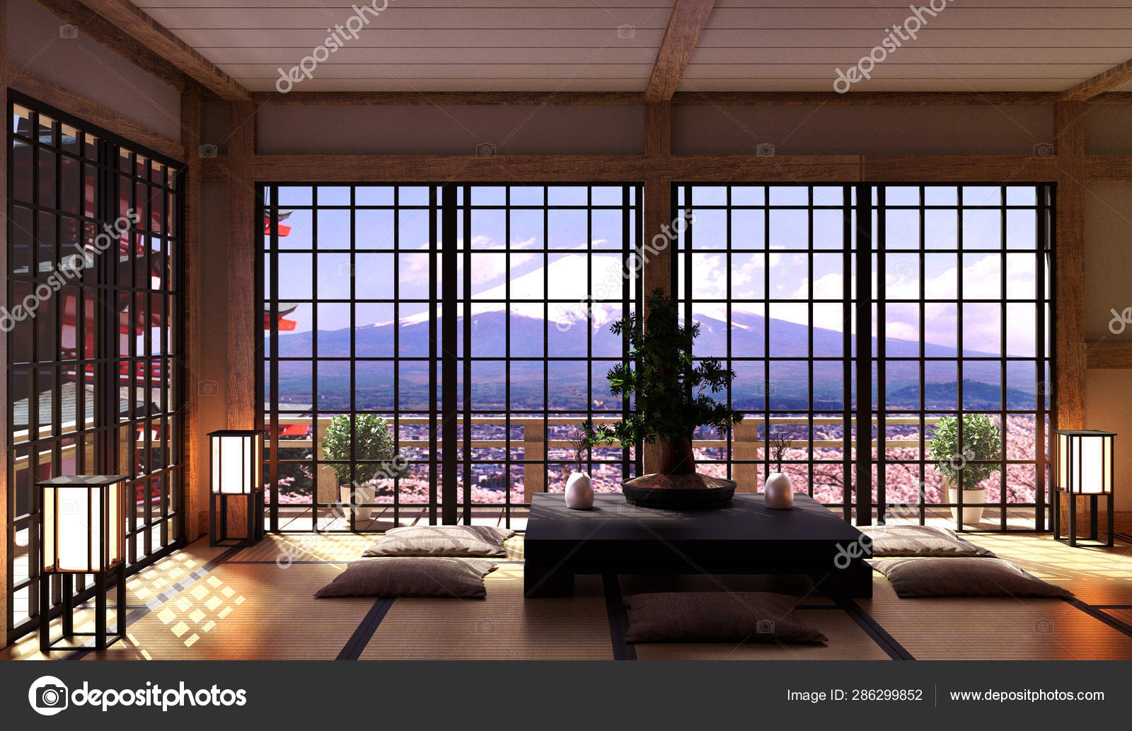 Japanese Living Room Interior In, Japanese Living Room